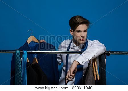 Business Communication, New Technology. Man Hold Smartphone And Jacket In Shirt, Necktie. Fashion, S