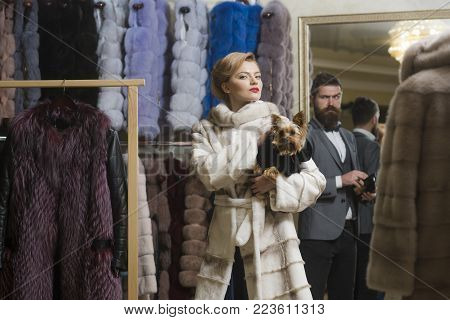 Fashion And Beauty, Winter. Couple In Love Among Fur Coat With Dog, Luxury. Date, Couple, Love, Man