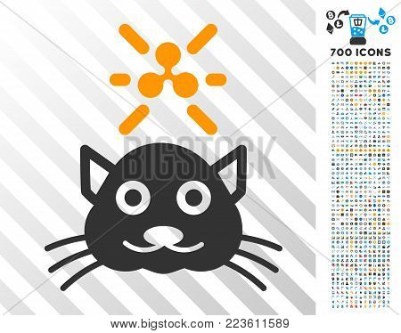 Crypto Ripple Kitty pictograph with 7 hundred bonus bitcoin mining and blockchain pictographs. Vector illustration style is flat iconic symbols designed for bitcoin apps.