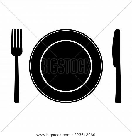 Fork, knife and plate on plate background. Vector illustration