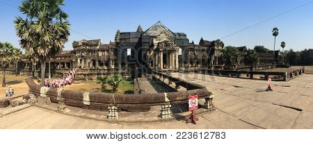 Angkor Wat Temple , Siem Reap, Cambodia In Sunny Day