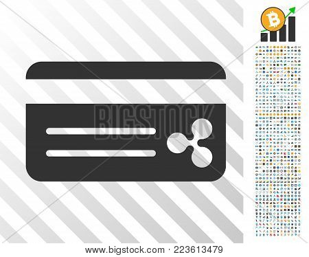 Ripple Bank Card icon with 7 hundred bonus bitcoin mining and blockchain icons. Vector illustration style is flat iconic symbols designed for crypto currency apps.