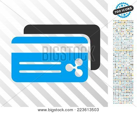 Ripple Bank Cards pictograph with 700 bonus bitcoin mining and blockchain pictures. Vector illustration style is flat iconic symbols designed for bitcoin software.