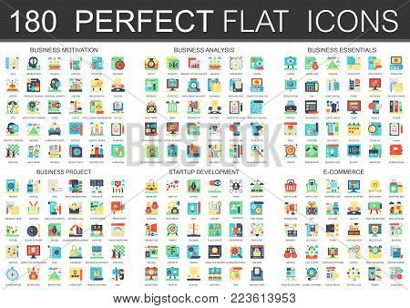 180 vector complex flat icons concept symbols of business motivation, analysis, essentials, business project, startup development and e commerce. Web infographic icon design