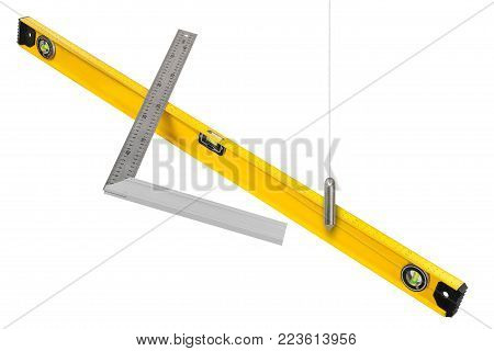 Construction measuring tools isolated on white background