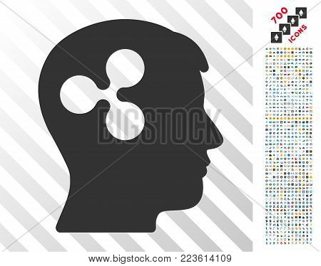 Ripple Brain pictograph with 7 hundred bonus bitcoin mining and blockchain pictographs. Vector illustration style is flat iconic symbols designed for bitcoin software.