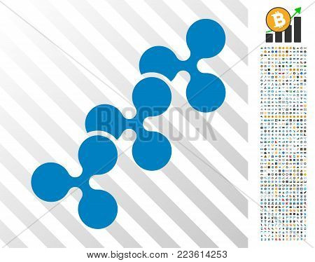 Ripple Chain pictograph with 700 bonus bitcoin mining and blockchain symbols. Vector illustration style is flat iconic symbols designed for cryptocurrency software.