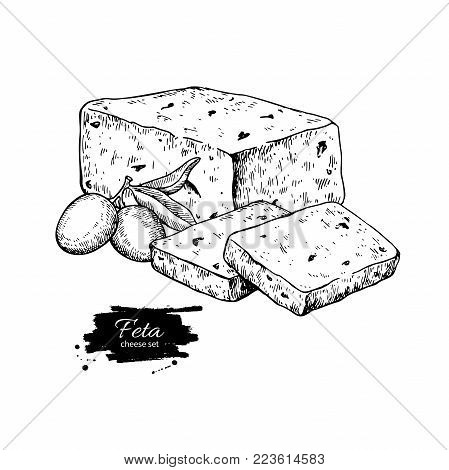 Greek feta cheese block drawing. Vector hand drawn food sketch with olive. Greek salad ingredient. Farm market product for label, poster, icon.