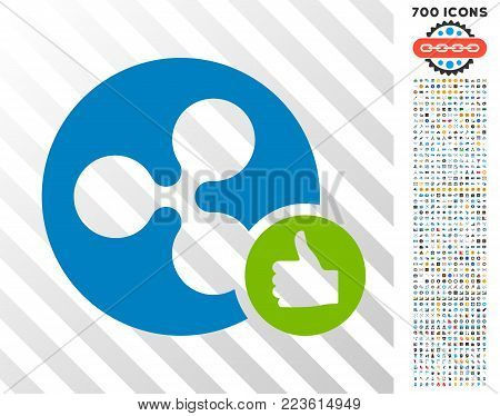 Ripple Coin Thumb Up pictograph with 700 bonus bitcoin mining and blockchain design elements. Vector illustration style is flat iconic symbols designed for crypto currency apps.