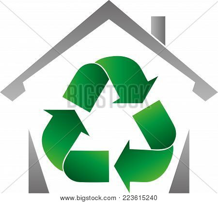 Recycle arrows, recycle sign and house, recycle logo