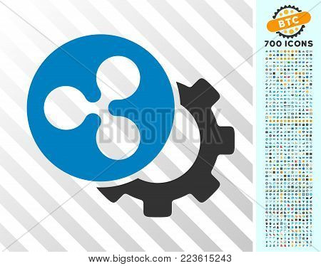 Ripple Configuration Gear icon with 700 bonus bitcoin mining and blockchain pictograms. Vector illustration style is flat iconic symbols designed for crypto-currency apps.