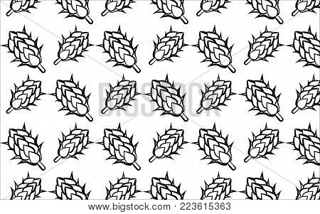 A pattern of black and white hops on a white background. Beer ingredients. Branches of hops turned to the side. Seamless vector illustration.