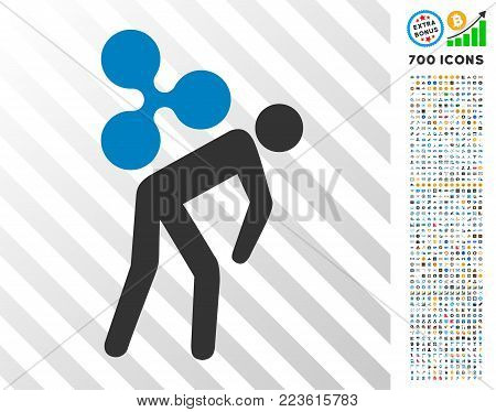 Ripple Courier Job icon with 7 hundred bonus bitcoin mining and blockchain graphic icons. Vector illustration style is flat iconic symbols designed for blockchain websites.