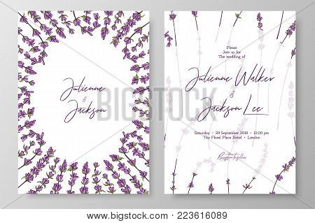 Wedding invitation with lavenders. Cards templates for save the date, thank you card, wedding invites, menu, flyer, background, greeting cards, postcards
