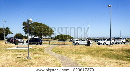 BRISBANE - January 19, 2018: Free waiting area to pick up arriving passengers and to observe aircraft landing and take off at Brisbane Airport, Australia