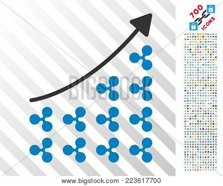 Ripple Growing Chart icon with 7 hundred bonus bitcoin mining and blockchain images. Vector illustration style is flat iconic symbols designed for blockchain websites.