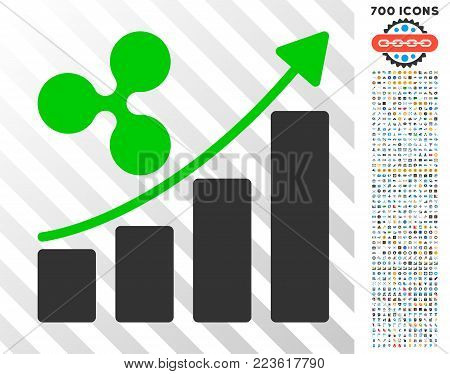 Ripple Growth Chart icon with 700 bonus bitcoin mining and blockchain images. Vector illustration style is flat iconic symbols designed for blockchain apps.