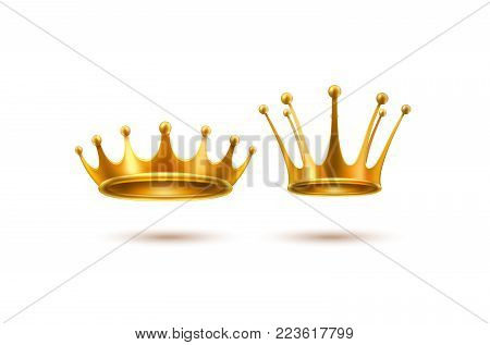 Golden crown 3d royal prince queen monarch king emperor tsar symbol realistic vector luxury VIP jewelry set Isolated illustration background. Success, authority autocracy business leadership emblem
