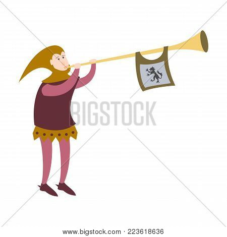 Cartoon crier with trumpet on white background. Vector illustration.
