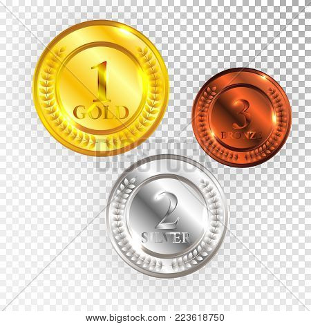 Champion Gold, Silver and Bronze Medal Icon Sign First, Second and Third Place Collection Set Isolated on Transparent Background. Vector Illustration.