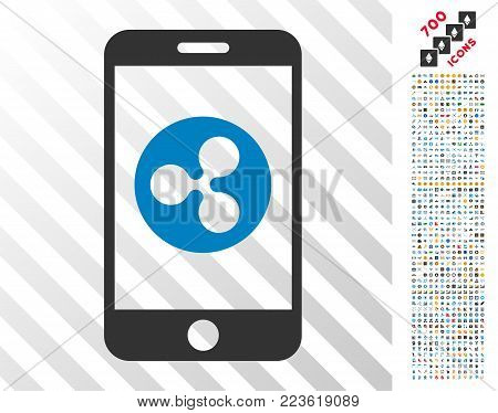 Ripple Mobile pictograph with 700 bonus bitcoin mining and blockchain symbols. Vector illustration style is flat iconic symbols designed for crypto currency websites.