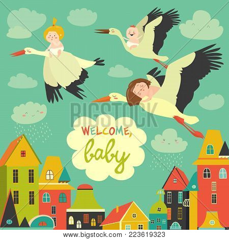 Storks is flying in the sky with babies above the city. Vector illustration