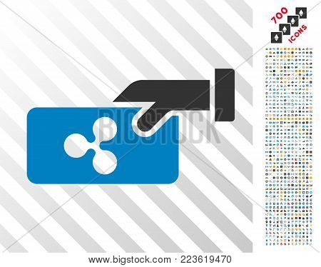 Ripple Payment pictograph with 7 hundred bonus bitcoin mining and blockchain symbols. Vector illustration style is flat iconic symbols designed for crypto-currency websites.