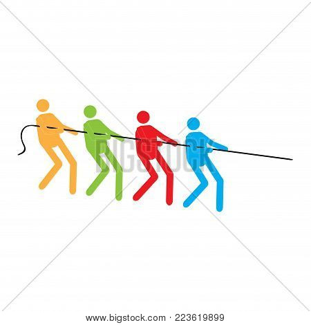 Silhouettes of men pulling a rope. Teamwork concept. Vector illustration design