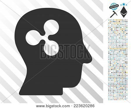 Ripple Thinking pictograph with 700 bonus bitcoin mining and blockchain clip art. Vector illustration style is flat iconic symbols designed for blockchain websites.