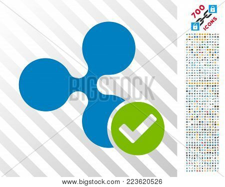 Ripple Valid pictograph with 700 bonus bitcoin mining and blockchain pictograms. Vector illustration style is flat iconic symbols designed for bitcoin websites.