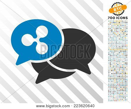 Ripple Webinar icon with 700 bonus bitcoin mining and blockchain images. Vector illustration style is flat iconic symbols designed for blockchain websites.
