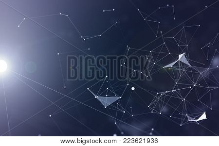 3D Abstract Polygonal Blue Background with White Low Poly Connecting Dots and Lines - Connection Structure - Futuristic HUD Background
