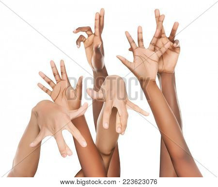 Group of hands of various races Caucasian, African, Asian, Hispanic