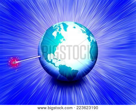 Planet Earth like a bomb with a wick. 3D rendering