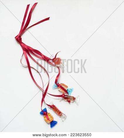 Red Satin Ribbon Strings of Glass Candy