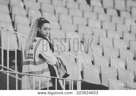 2018 in Valencia, spain, SPAIN - JANUARY 17: Steward during Spanish King Cup match between Valencia CF and Alaves at Mestalla Stadium on january 17, valencia