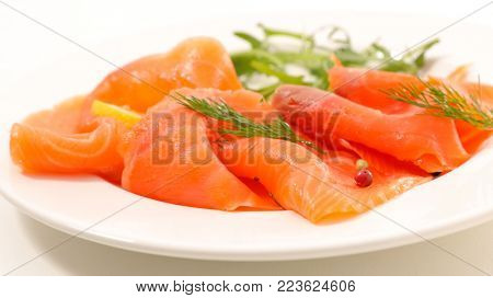 smoked salmon slices and dill