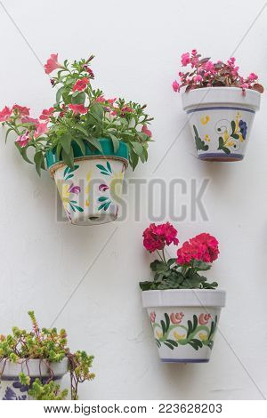 Flower pots in a wall of Tazones, a small town in the coast of Asturias