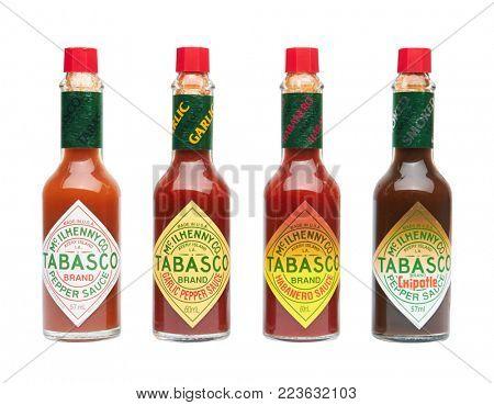 ODESSA, UKRAINE - NOVEMBER 2, 2017: Set of Tabasco hot sauce, isolated on white background