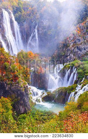 View Of Beautiful Autum Lake In National Park Plitvice Lakes, Croatia