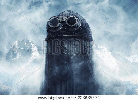 Post-apocalyptic futuristic concept. Fantasy. Steampunk. Cyberpunk