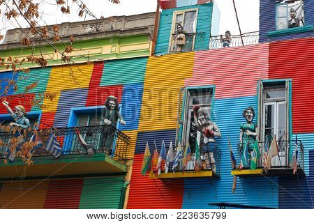 Buenos Aires, Argentina May 29, 2015: Colorful houses at Caminito street in La Boca, Buenos Aires