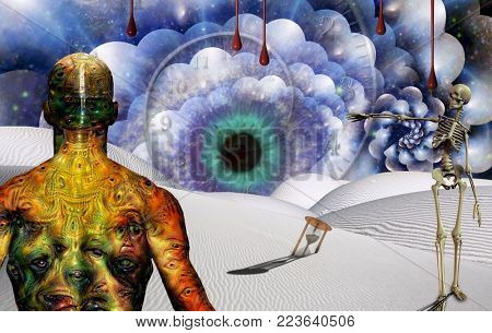 Man with weird eyes on body stands in surreal desert with hourglass and watchful eye. Skeleton points to the Eye. 3D rendering