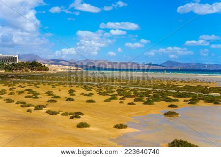 a panoramic view of the Sotavento Beach in Fuerteventura, Canary Islands, Spain, frequented by kitesurfers