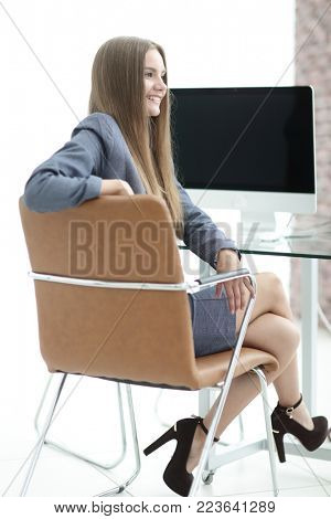 woman administrator sitting at the workplace