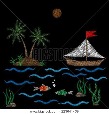 Embroidery pattern with palm tree and boat on wave with fish stitches imitation isolated on the black background. Embroidery for logo, label, emblem, sign, poster, t-shirt print. Vector embroidery illustration.