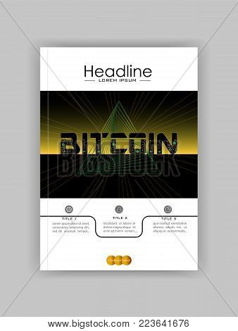 Bitcoin Abstract Background Design With Triangle Geometric Futuristic Lines. Cover Book Template. Ve