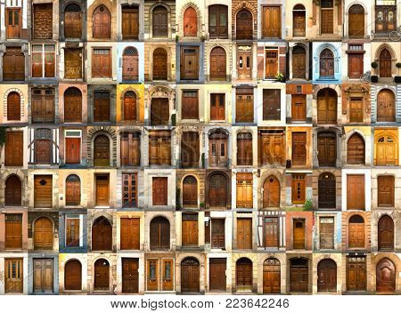 A collage of ancient doors all in wood from everywhere in the world