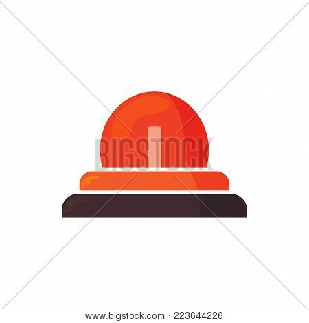 Vector icon illustration: Emergency siren isolated, Ambulance Siren light, Police car flasher or red Alert symbol. Firefighters sign.