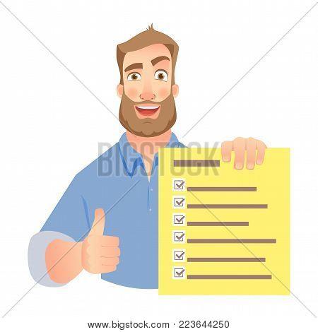 Man holding checklist. Businessman hands holding check list vector illustration